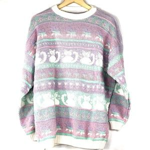 Purple Stripe Cat Vintage Pastel Knit Sweater